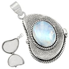 10.61cts natural rainbow moonstone 925 sterling silver poison box pendant r30660