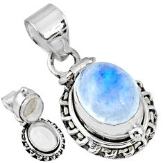 5.29cts natural rainbow moonstone 925 sterling silver poison box pendant r55674