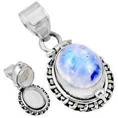 4.82cts natural rainbow moonstone 925 sterling silver poison box pendant r55675