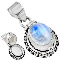 5.52cts natural rainbow moonstone 925 sterling silver poison box pendant r55676