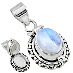 5.53cts natural rainbow moonstone 925 sterling silver poison box pendant r55678
