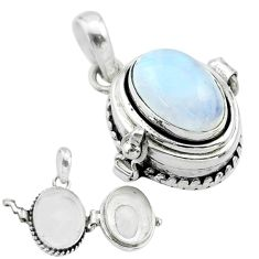 4.54cts natural rainbow moonstone 925 sterling silver poison box pendant t52685