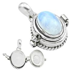 4.22cts natural rainbow moonstone 925 sterling silver poison box pendant t52693