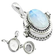 4.21cts natural rainbow moonstone 925 sterling silver poison box pendant t52694