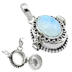 4.08cts natural rainbow moonstone 925 sterling silver poison box pendant t52699