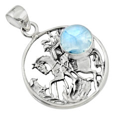 4.55cts natural rainbow moonstone 925 sterling silver unicorn pendant r52779