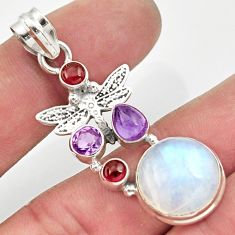 14.41cts natural rainbow moonstone amethyst 925 silver dragonfly pendant d43314