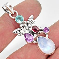 9.65cts natural rainbow moonstone amethyst 925 silver dragonfly pendant d43329