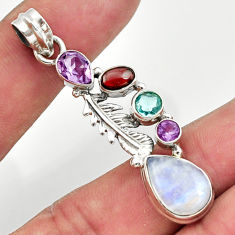 9.39cts natural rainbow moonstone amethyst 925 silver feather pendant d43281