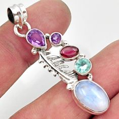Clearance Sale- 9.38cts natural rainbow moonstone amethyst 925 silver feather pendant d43309