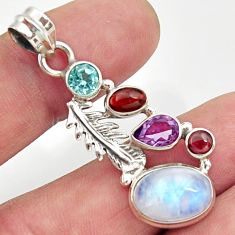 8.83cts natural rainbow moonstone amethyst 925 silver feather pendant d43358