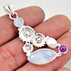 14.72cts natural rainbow moonstone amethyst 925 silver flower pendant d43325