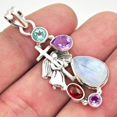 10.25cts natural rainbow moonstone amethyst 925 silver holy cross pendant d43354