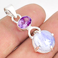 9.70cts natural rainbow moonstone amethyst 925 sterling silver pendant r75941