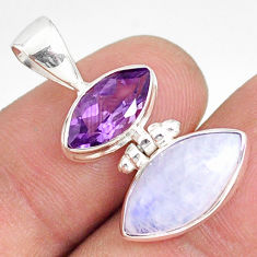 10.08cts natural rainbow moonstone amethyst 925 sterling silver pendant r76745