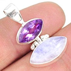 10.05cts natural rainbow moonstone amethyst 925 sterling silver pendant r76961
