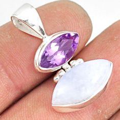 10.15cts natural rainbow moonstone amethyst 925 sterling silver pendant r77422