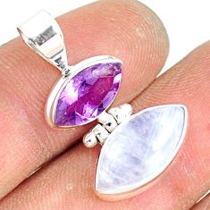 10.05cts natural rainbow moonstone amethyst 925 sterling silver pendant r81294