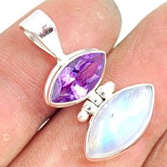 10.08cts natural rainbow moonstone amethyst 925 sterling silver pendant r81298