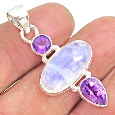 11.57cts natural rainbow moonstone amethyst 925 sterling silver pendant r81399