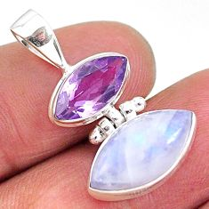 9.72cts natural rainbow moonstone amethyst 925 sterling silver pendant t11086