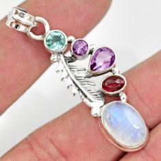 9.42cts natural rainbow moonstone amethyst garnet 925 silver pendant d43317