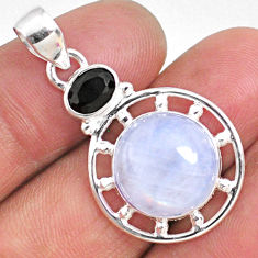11.57cts natural rainbow moonstone black onyx 925 sterling silver pendant r63685