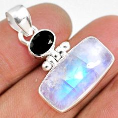 12.06cts natural rainbow moonstone black onyx 925 sterling silver pendant r63722