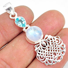 5.63cts natural rainbow moonstone blue topaz 925 silver pendant r81345