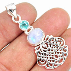 3.58cts natural rainbow moonstone blue topaz 925 sterling silver pendant r81346