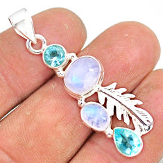7.50cts natural rainbow moonstone blue topaz 925 sterling silver pendant r81367