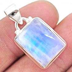 9.99cts natural rainbow moonstone octagan 925 sterling silver pendant t23729
