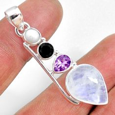 13.70cts natural rainbow moonstone onyx pearl 925 sterling silver pendant r63674