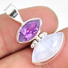 10.05cts natural rainbow moonstone purple amethyst 925 silver pendant r76746