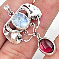 6.74cts natural rainbow moonstone red garnet 925 sterling silver pendant r26353