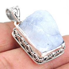 21.78cts natural rainbow moonstone slice raw 925 silver pendant t20832