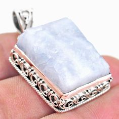 28.70cts natural rainbow moonstone slice raw fancy 925 silver pendant t20833