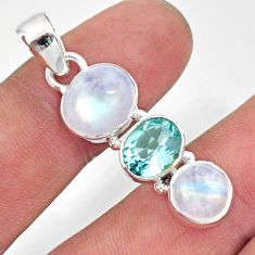 10.78cts natural rainbow moonstone topaz 925 sterling silver pendant d43386