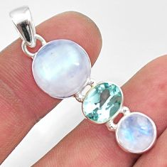 12.03cts natural rainbow moonstone topaz 925 sterling silver pendant d43390