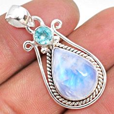 10.29cts natural rainbow moonstone topaz 925 sterling silver pendant r63687