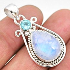 10.78cts natural rainbow moonstone topaz 925 sterling silver pendant r63961
