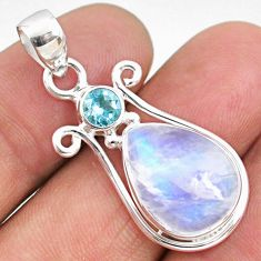10.02cts natural rainbow moonstone topaz 925 sterling silver pendant r63963