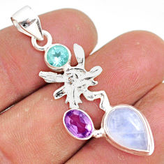 7.44cts natural rainbow moonstone topaz silver angel wings fairy pendant r81398