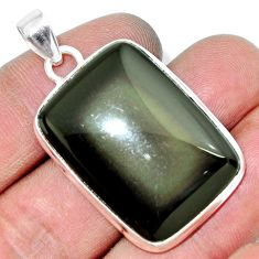 Clearance Sale- 29.32cts natural rainbow obsidian eye 925 sterling silver pendant jewelry d42436