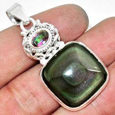 Clearance Sale- 19.99cts natural rainbow obsidian eye rainbow topaz 925 silver pendant d42435