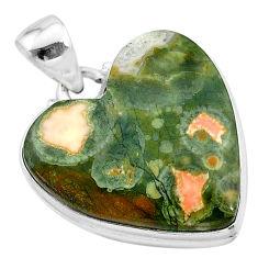 17.65cts natural rainforest rhyolite jasper heart 925 silver pendant t13473