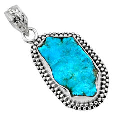 9.35cts natural raw sleeping beauty turquoise 925 silver pendant r66621