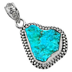 7.96cts natural raw sleeping beauty turquoise rough 925 silver pendant r66622