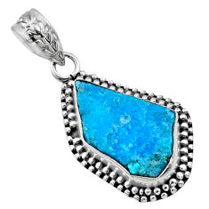 8.12cts natural raw sleeping beauty turquoise 925 silver pendant r66623