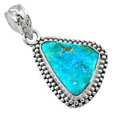 7.50cts natural raw sleeping beauty turquoise rough 925 silver pendant r66628